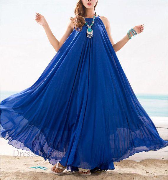 Royal Blue maxi dress chiffon dress long dress Plus Size ...