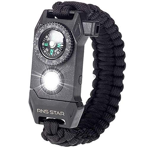 Photo of RNS STAR Paracord Survival Bracelet 6-in-1 – Hiking Gear Traveling Camping Gear Kit – 70% Bigger Compass LED SOS Emergency Function Flashlight,Fire Scrapper,Flint Fire Starter,Survival Knife – Online Shopping USA