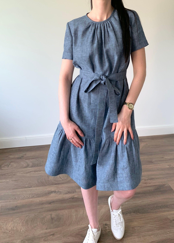linen loose dress with short sleeves and pockets, melange