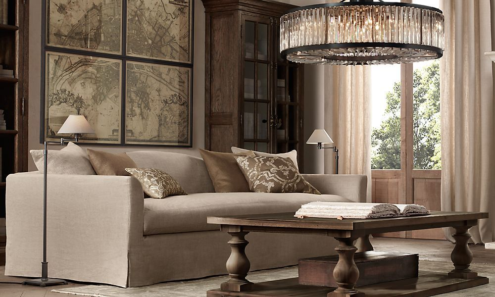 Monastery Coffee Table by Restoration Hardware - Put A Console Table Behind Sofa, Put Large Art Above It, Bookcases