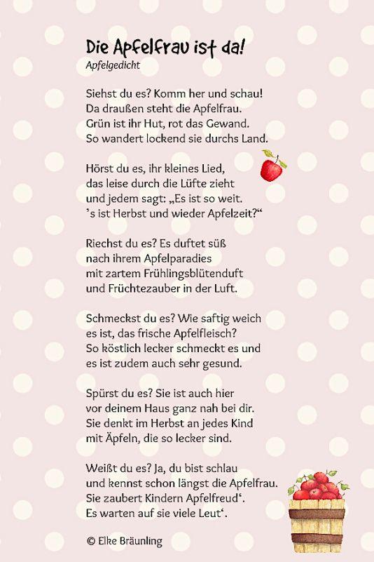 Die Apfelfrau ist da! | Wierszyki | Kindergarten, Poems ...
