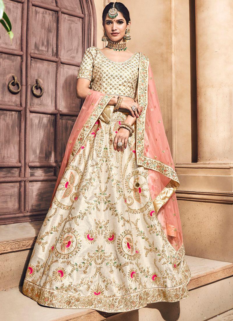 9afee64e44711d Off White Silk Zardosi Work Bridal Lehenga Choli
