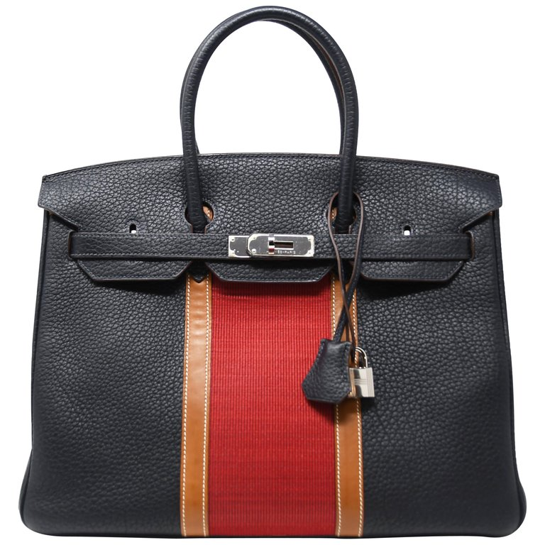 fa01bff1a0 Hermès Top Handle Bag - Birkin Bag 35Cm Black Stripe Palladium Hardware