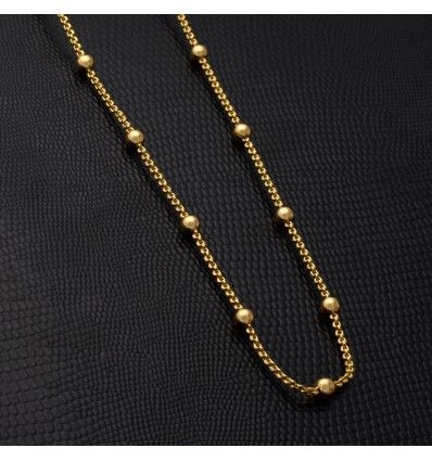 9388f3b651864 Gold plated Thin Ball Link Chain in 2019   Indian jewellery   Gold ...