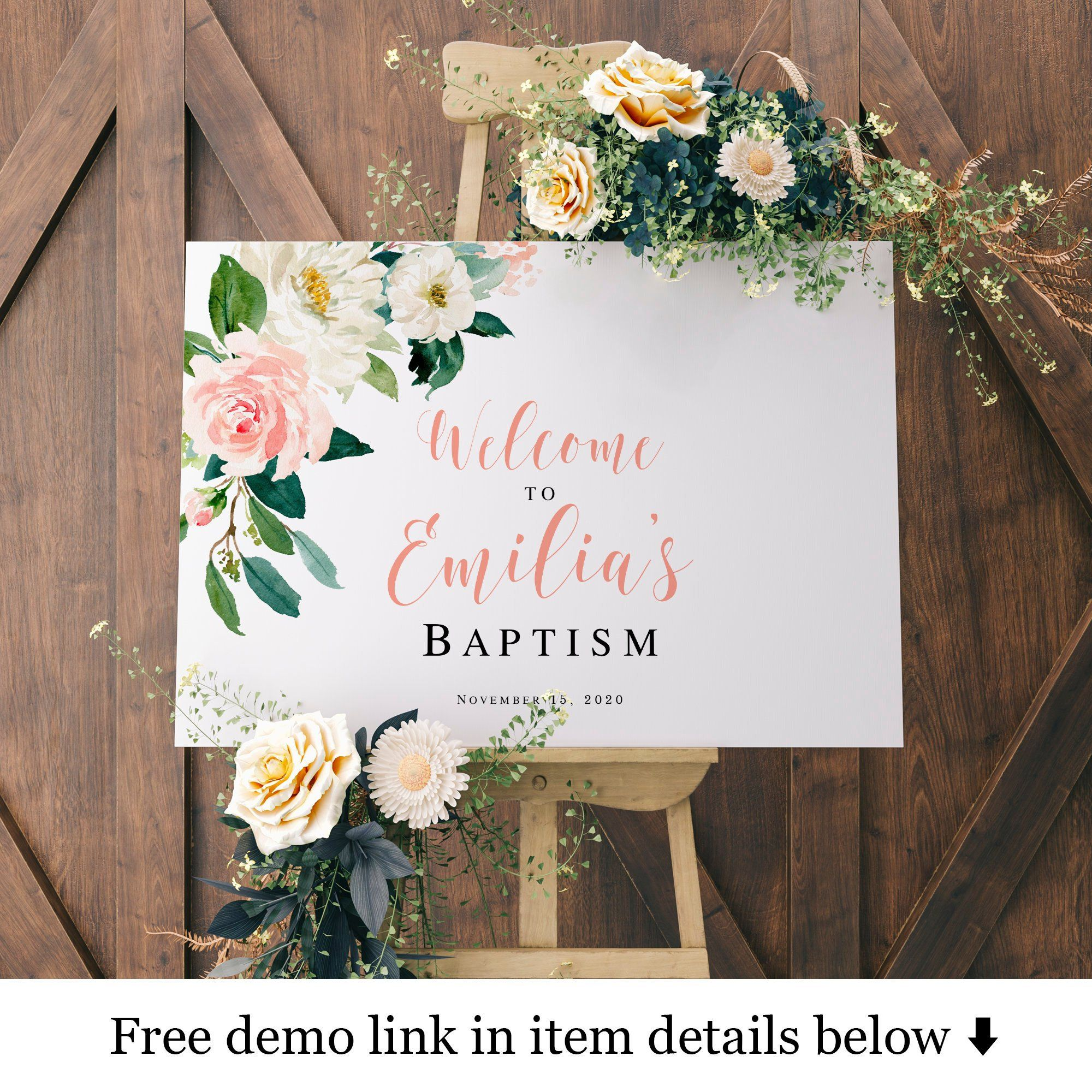 Horizontal Welcome Sign Template Baptism Signs For Girls Baptism Reception Christening Party Ideas Baby Dedicatio Baptism Reception Baptism Girl Sign Templates