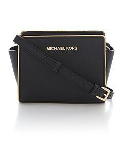Michael Kors Selma Specchio Black Small Cross Body Bag Visit:www.ladiesbagsstore.co.uk