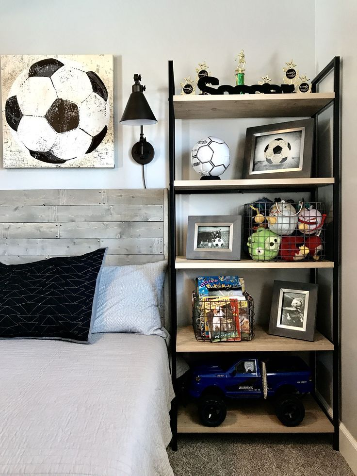 Industrial Style Boy Soccer Themed Bedroom Diy Handmade Wood Bed
