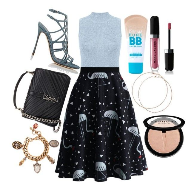 """""""Untitled #84"""" by chelseamckeering on Polyvore featuring Miss Selfridge, Chicwish, Sergio Rossi, Maybelline, Marc Jacobs, Yves Saint Laurent, Sephora Collection, Alexander McQueen, women's clothing and women"""