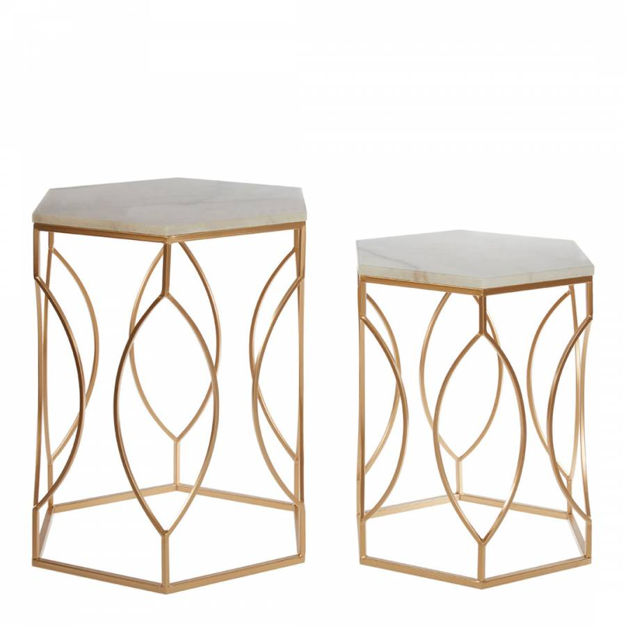 Fifty Five South Avantis Side Tables Gold Marble Top Side Table