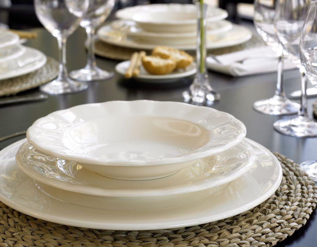 Conjunto de Mesa en decoración blanca. Forma Aurora. & Conjunto de Mesa en decoración blanca. Forma Aurora. | Blanco ...