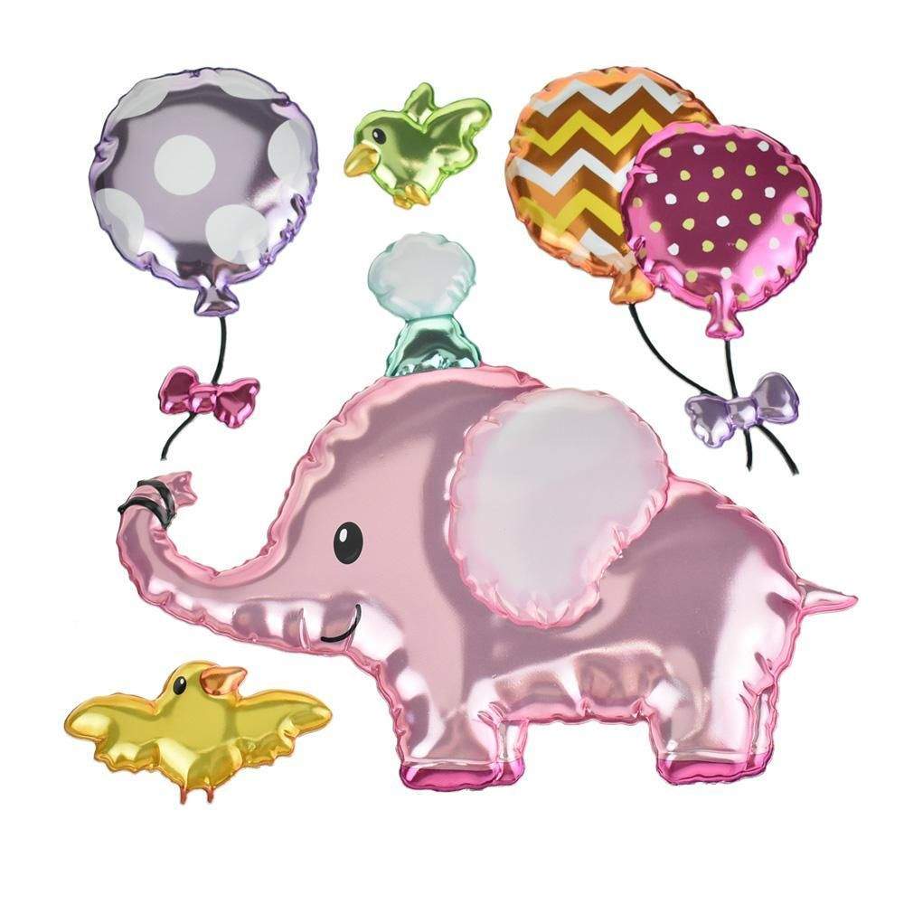 Baby Elephant Holographic Balloon 3d Pop Up Wall Art Stickers 5 Piece Sticker Wall Art Baby Elephant Diy Wall Decals