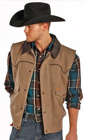 Powder River Men's Holbrook Solid Wool Heather Vest 98-5619