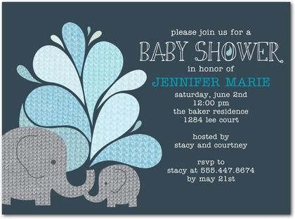 Elephant Applique Slate Baby Shower Invitations in Slate Allie
