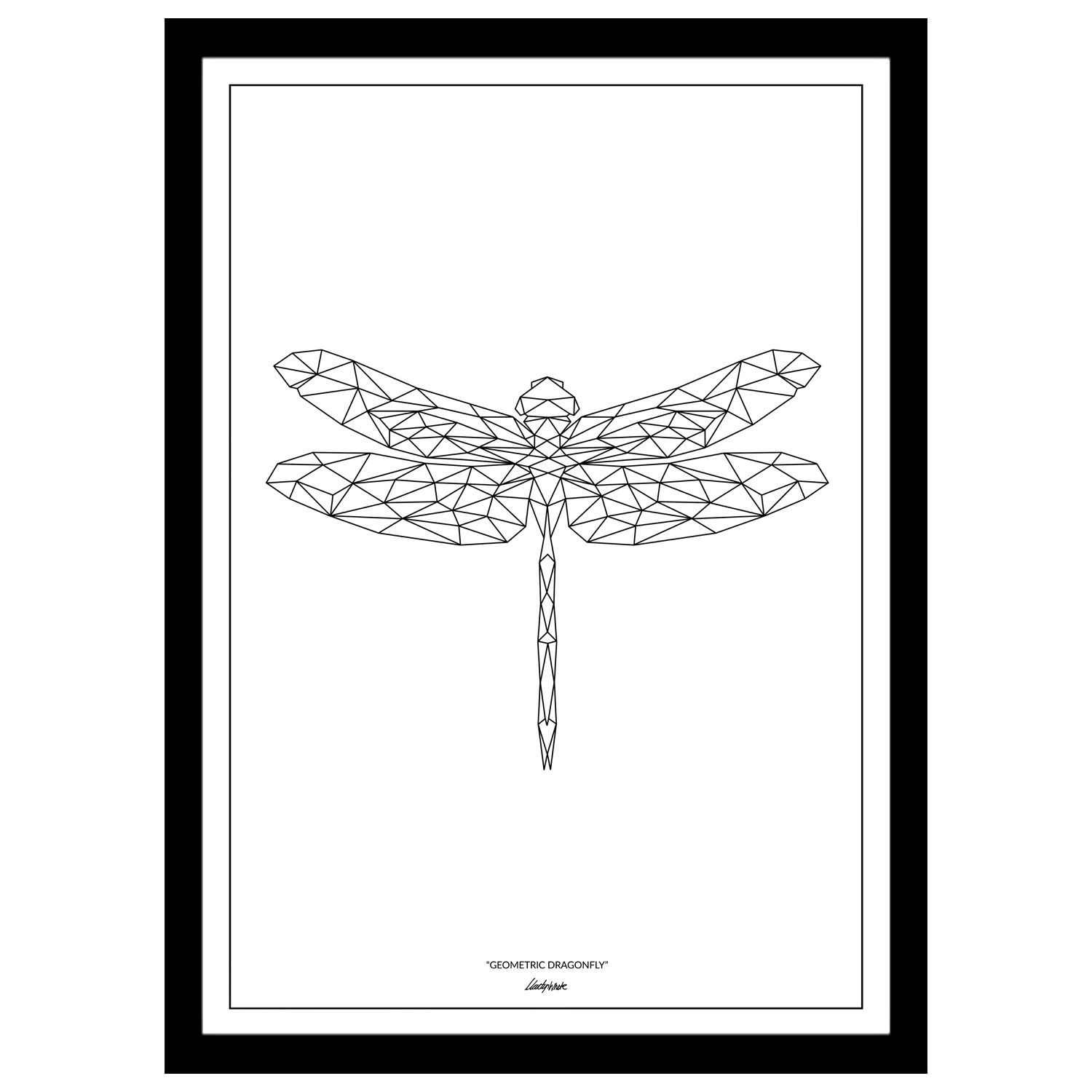 Form I Collection  Dragonfly Geometric Art Print  Dragonfly
