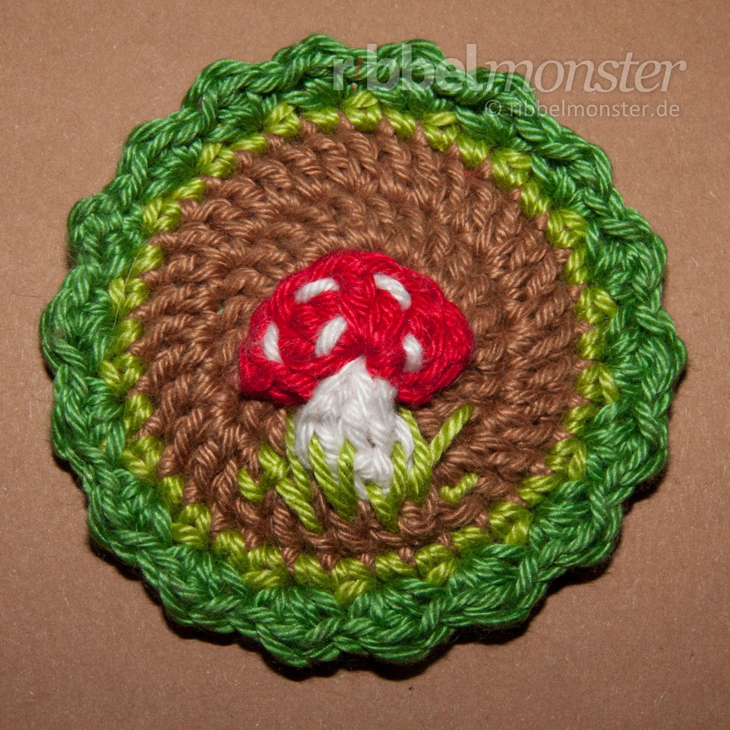 Aufnäher Häkeln Button Häkeln Fliegenpilz Crochet Mushroom And