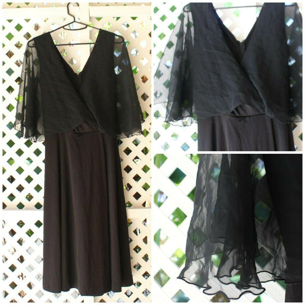 ccbfa97337 Women's Vintage 70/80's Handmade Little Black Dress LBD Short Wrap Low Cut  Dress #