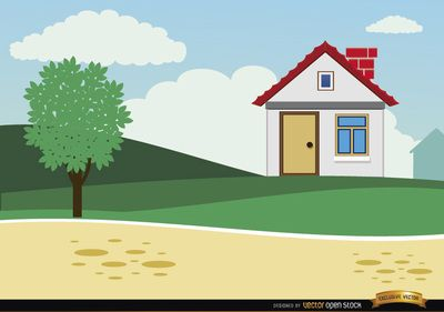 Small Country House Background In Cartoon Style It S A Nice