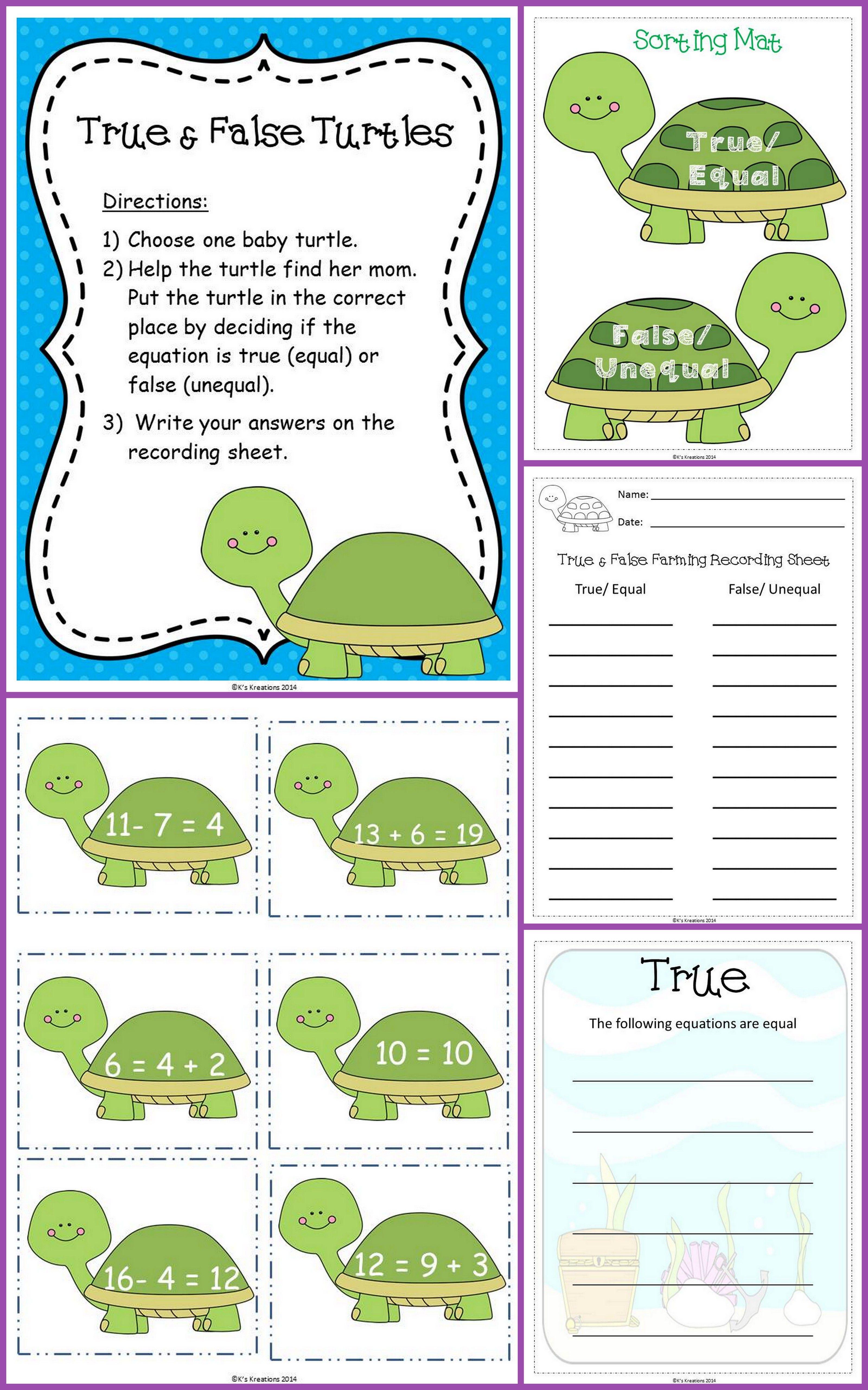 True Amp False Turtle Math Center Determine If Equations