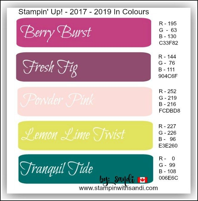 New In colour codes from stampinwithsandi.com