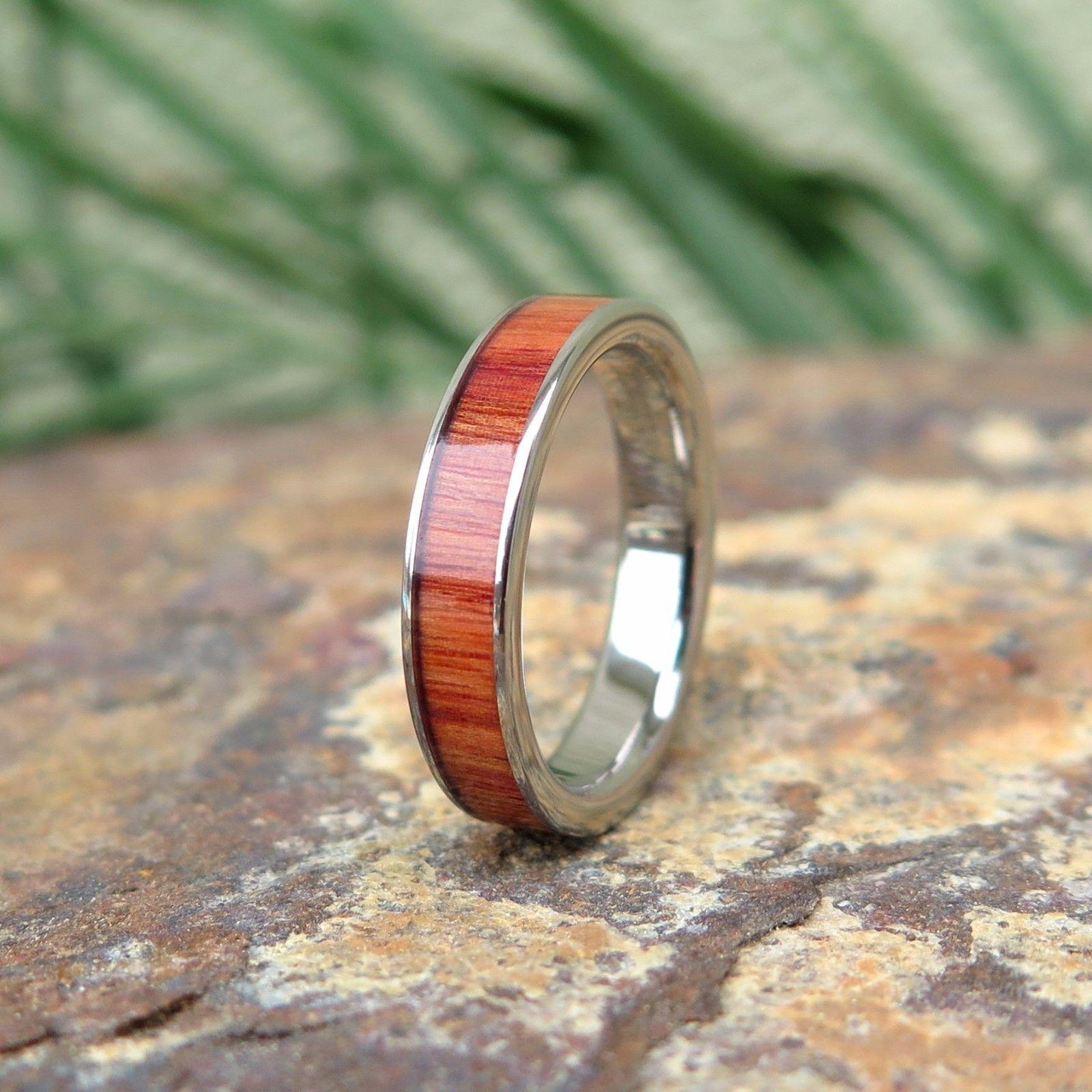 Hawaiian hawaii jewelry wood titanium wedding ring band mm trf