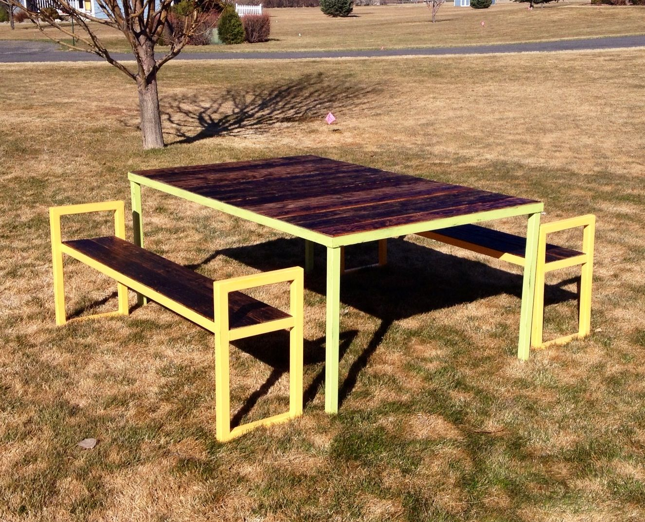 Patio table and benches. Angle iron, square tubing, and 2x6\'s. A fun ...