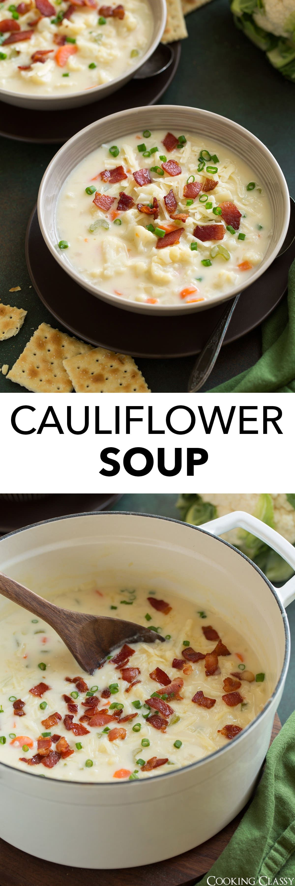 Cauliflower Soup - this is one of the best recipes to make with fresh cauliflower! It's rich and creamy, brimming with veggies and it has the perfect balance of flavors (bring on the cheddar and bacon!). It's just one of those comforting recipes you'll want to make time and time again.