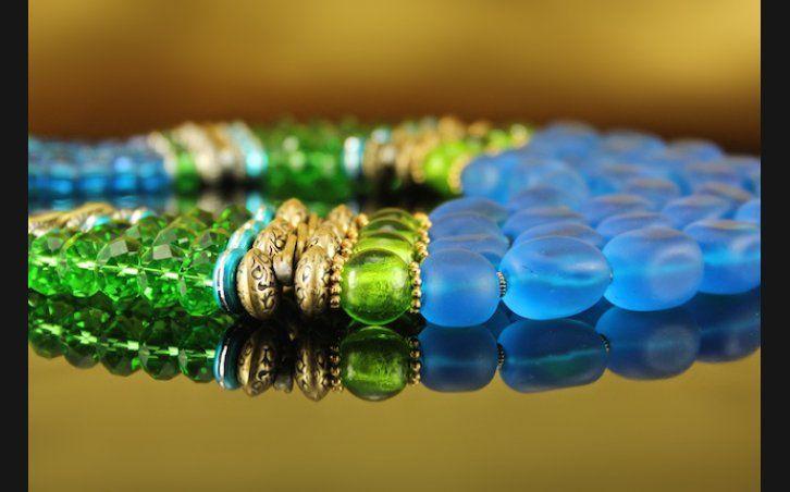 Jewelry - Blue Satin Collar 14, #OSG-B51 - Manitou Galleries - Santa Fe Fine Art Gallery