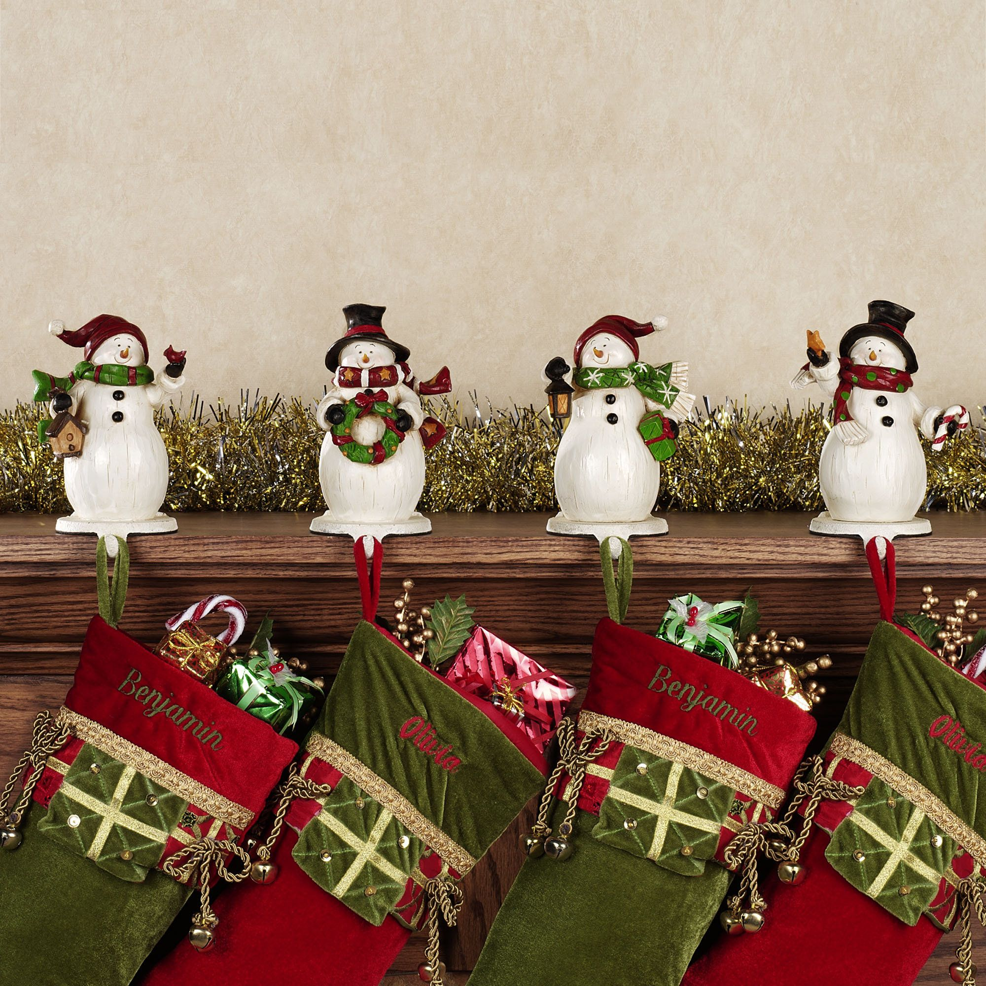 Snowmen Stocking Holder Set Home Decor Christmas