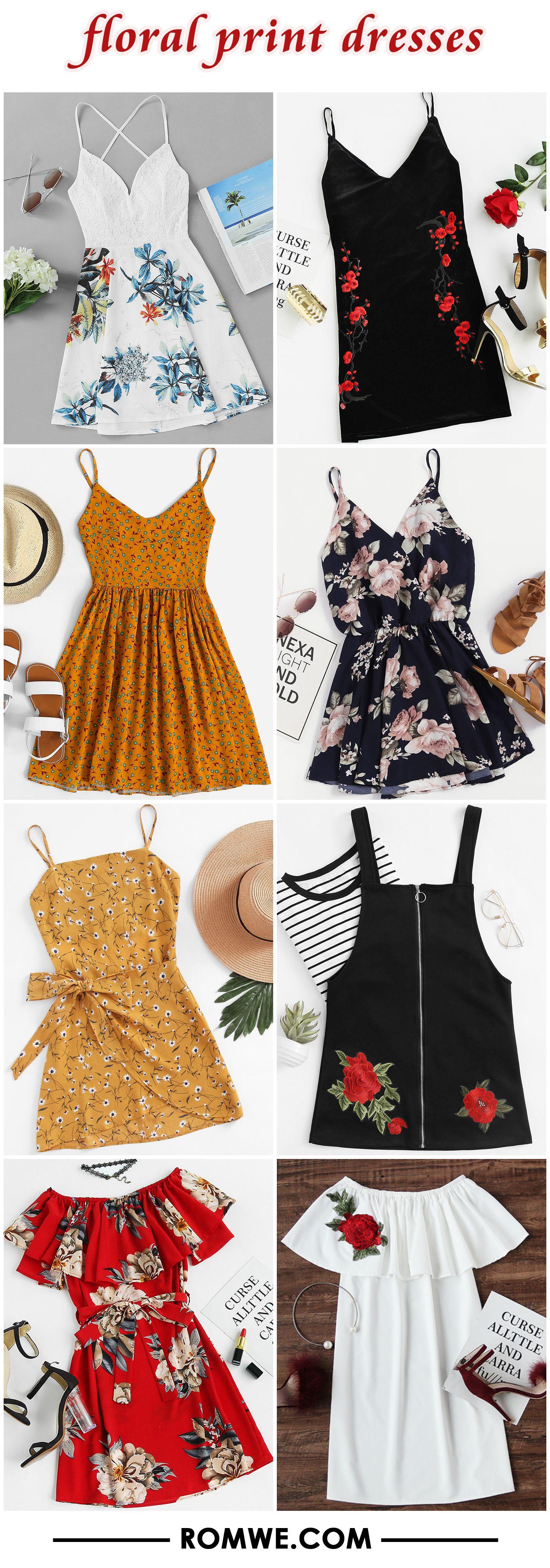 Floral print dresses from romwe looks pinterest dresses