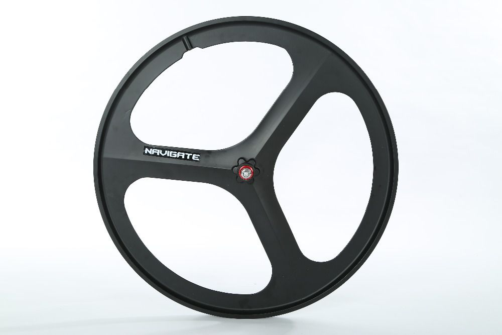 Black 700c Tri Spoke Fixie Fixed Gear Single Speed Bike Front Mag Wheel Rim