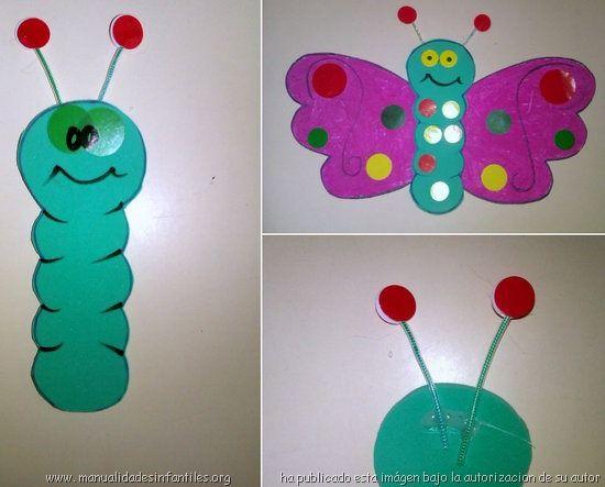 Mariposas de cartulina y goma eva manualidades - Como hacer mariposas de goma eva ...