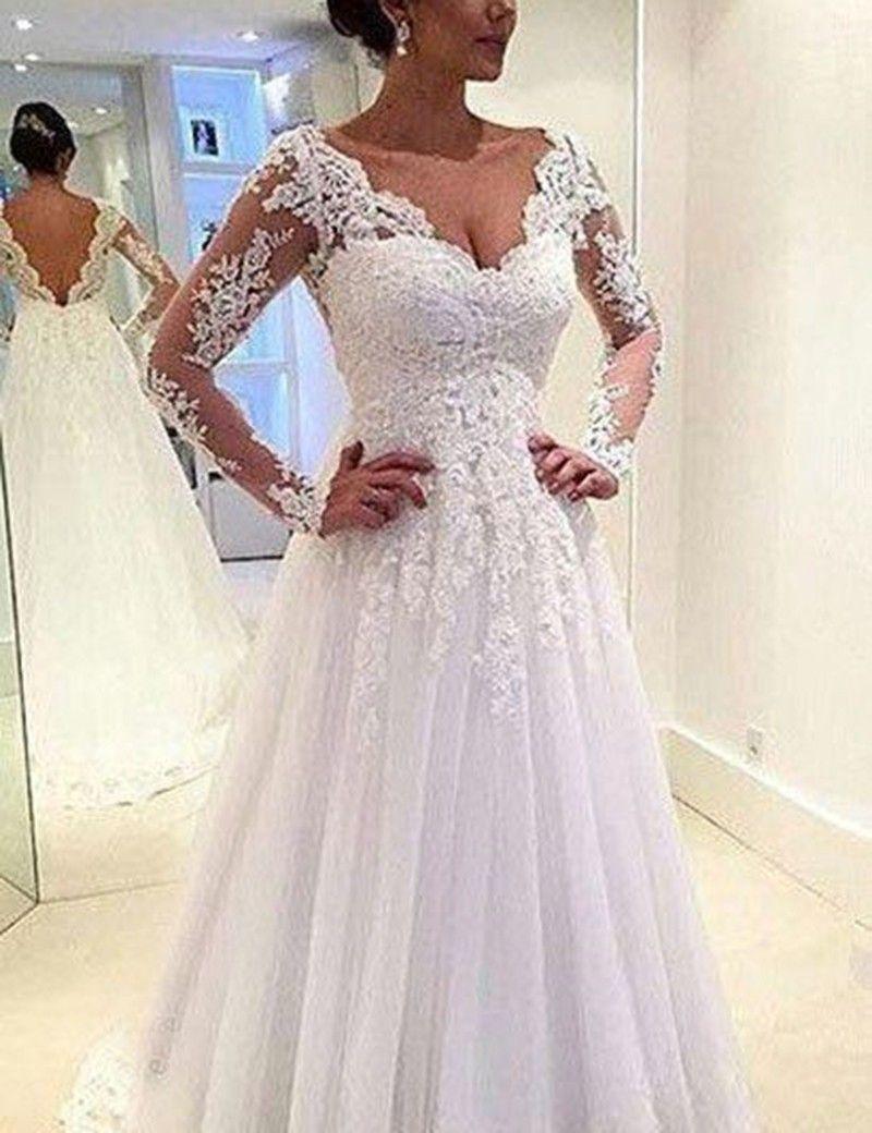 Aline lace vneck long sleeves backless court train wedding dress