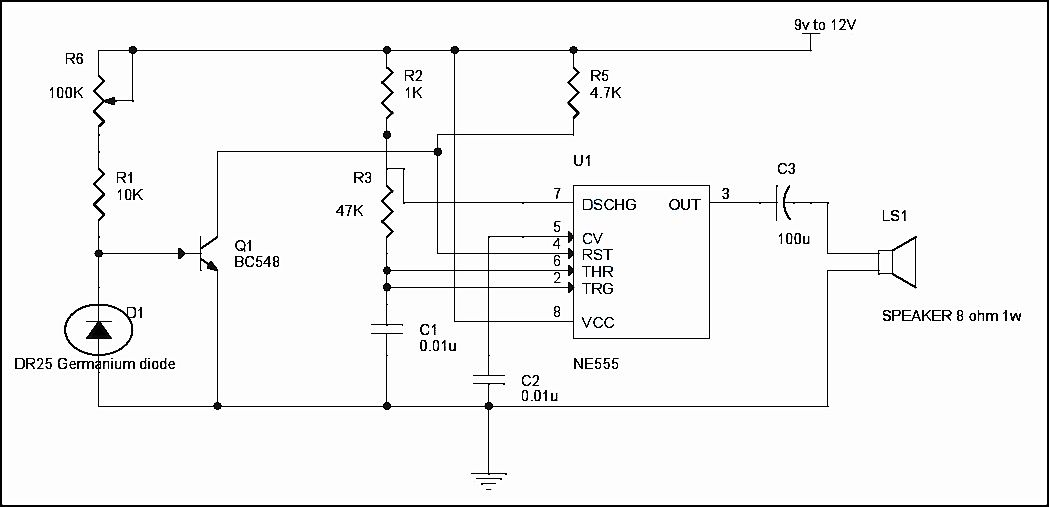 Simple Fire Alarm Circuit Using Thermistor Germanium Diode And