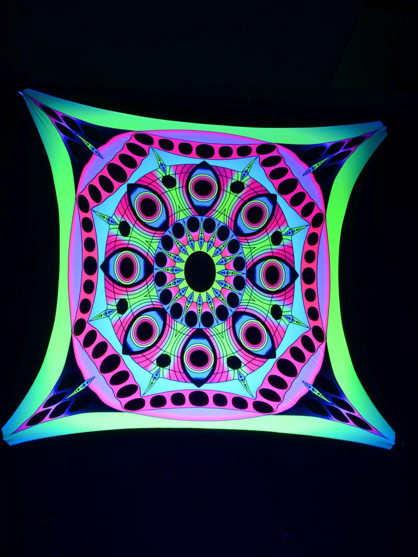 "2,5x2,5m psywork schwarzlicht goa segel spandex ""psy eyes mandala, Gartenarbeit ideen"