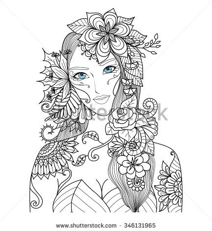 beautiful forest fairy for coloring book for adult stock vector