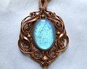Tiny Lake Labradorite and Copper pendant