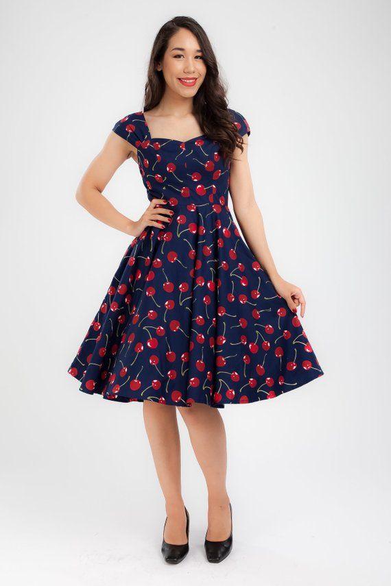 28569a6952c7 Navy Cherry Dress Red Cherries Vintage Dress Pin Up Dress Summer Dress  Swing Dress Party Dress Holid