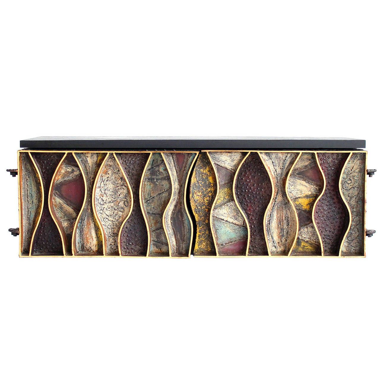 Paul Evans Wavy Front Slate Top Wall Hung Cabinet Ca1970