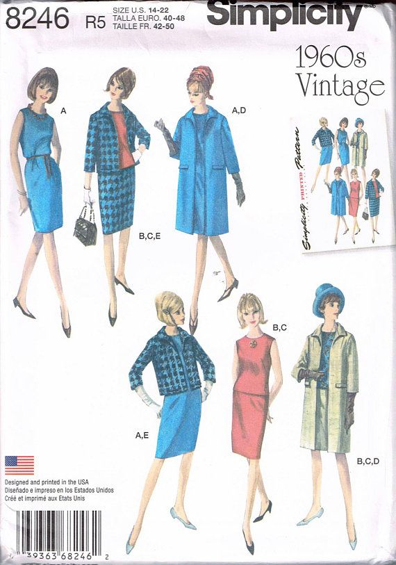 Size 14-22 Misses\' Retro Plus Size Sewing Pattern - 1960 Retro ...