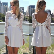 New Sexy Womens Summer Casual Long Sleeve Party Evening Cocktail Lace Mini Dress #ebay #webshopping #wishlist