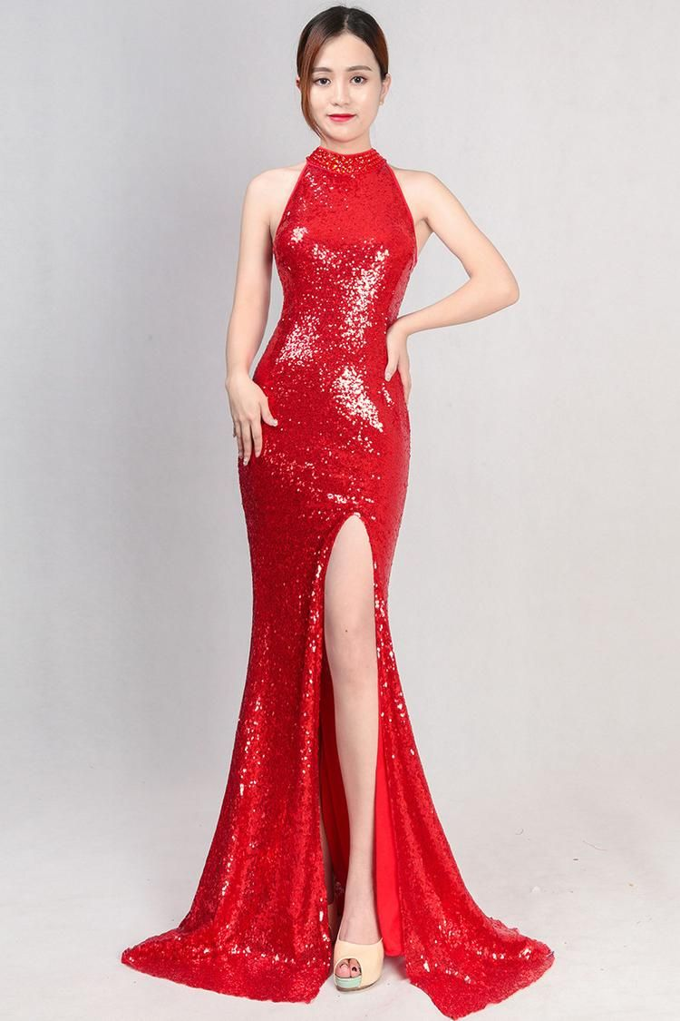 0f1ea0cf Affordable Beautiful Elegant Hang Neck Red Sequin Long Dress Sleeveless  With Thigh Split, Side Slit, Shiny metalic. For gorgeous ladies, pretty  women, ...