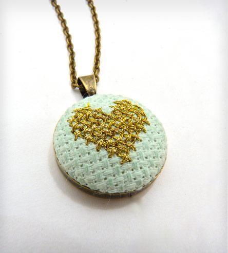 Cross Stitch Heart Necklace