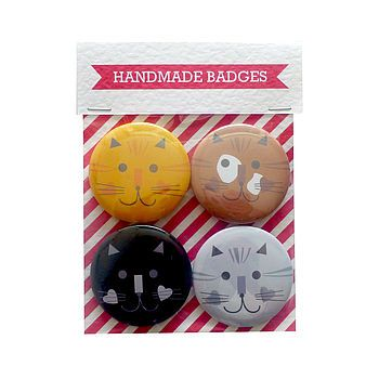 Cat Badge Collection | Ginger Pickle | Handmade Jewellery, Accessories, Homewares and Stationery made by UK designers.