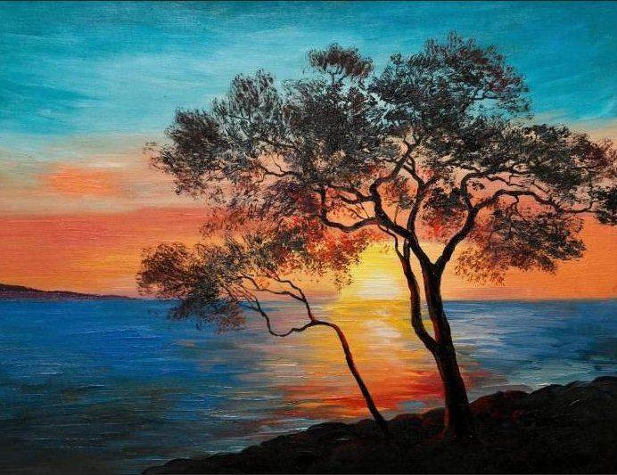 Lukisan Pemandangan Alam Yang Mudah 8 Lukisan In 2019 Gambar