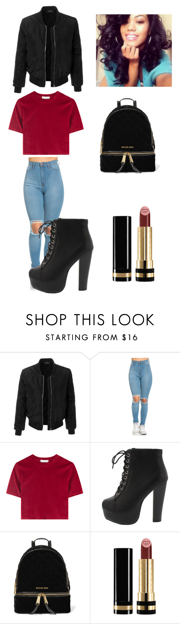 """""""school outift"""" by saucykay-779 ❤ liked on Polyvore featuring LE3NO, MICHAEL Michael Kors and Gucci"""