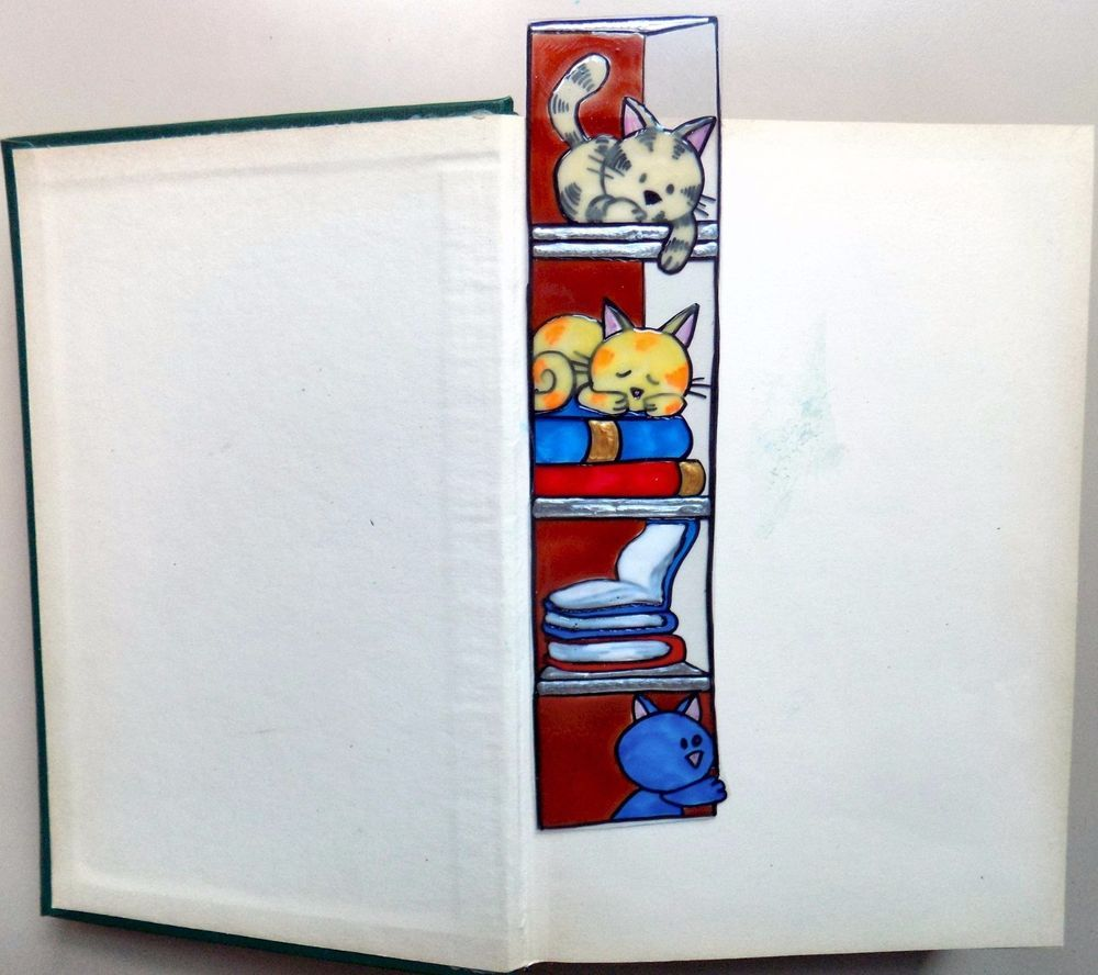 WICOART MARQUE PAGE EFFET FAUX STAINED GLASS PEINT MAIN CHATS ET LIVRES CATS