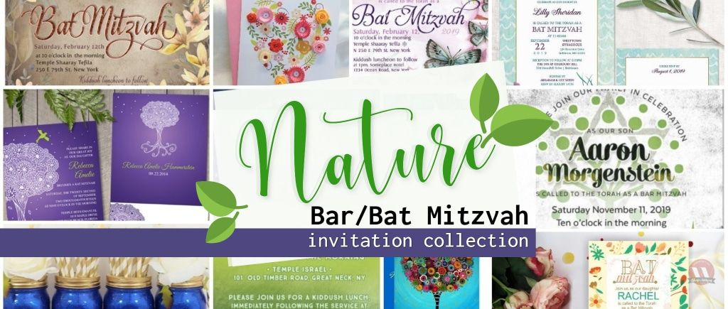Nature Themed Bar Mitzvah invitations & party ideas ♥ Invitation cards featuring outdoors, greenery, tree of life, butterflies, flowers and everything nature! #barmitzvah #batmitzvah #invitations