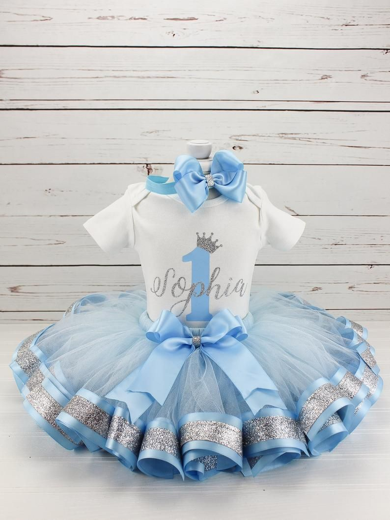 First Birthday Outfit for Girls Blue and Silver Princess