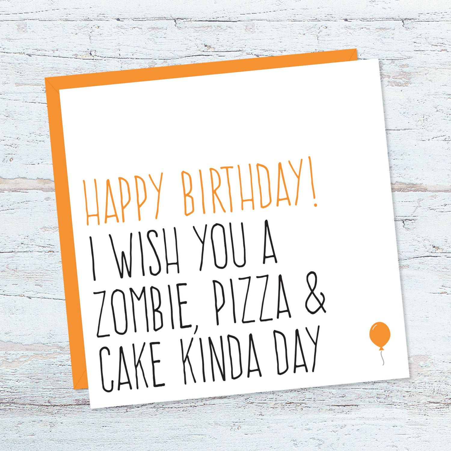 Funny zombie birthday card, Card for zombie lover, Best