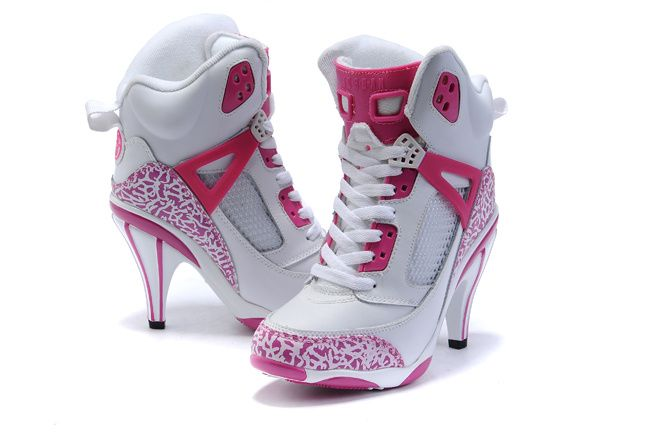 Girls Air Jordan Spiz ike High Heel White Pink Shoes  16736005b